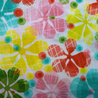 Large floral Quilting Fabric, Cotton flower fabric - Price per Half Metre