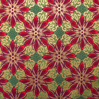Green poinsettia Fabric , Quilting fabric, Jason Yenter  Price by the Half Metre