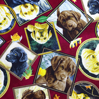 dog portrait fabric, dog fabric, Labrador fabric, Price by the half metre