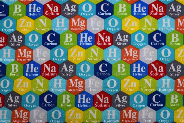 Periodic table fabric , Quilting fabric, cotton fabric, price by the half metre
