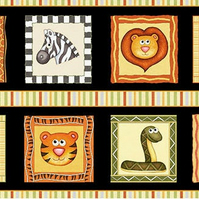 Childrens fabric quilting panel, Animal quilting panel, Jungle animals fabric pa