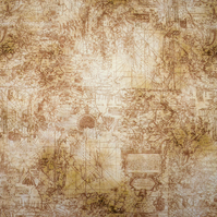Sepia ships chart fabric, Quilting fabric, Price per half Metre