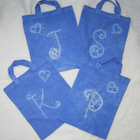 Small Shibori Resist Dyed Tote Bag with Hearts and Initials