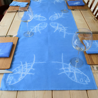 Linen & Cotton Table Runner. Shibori Resist hand designed & dyed.