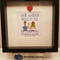 Custom Engagement minifigure frame, customise figures and textbackground