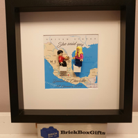 Personalised Engagement minifigure frame she said yes, minifigure one knee, cust