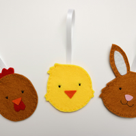 Felt Easter decorations, Easter bunny decoration, bunny ornament, Easter chick o