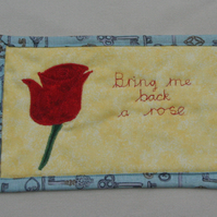 Beauty and the Beast Rose detail Fabric Mug Rug