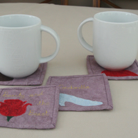 Set of four Fairytale themed Fabric Coasters with Appliqué pictures.