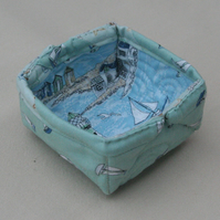 Small Quilted storage box featuring seaside themed and sailboats on light green