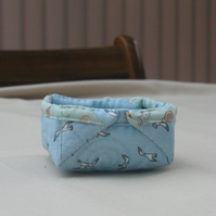 Small Quilted Storage box featuring seaside themed & Seagull Fabric