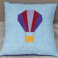 Up, Up and Away. Quilted Patchwork Hot Air Ballon Cushion