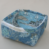 Quilted Fabric Storage Box featuring Coral and Seaside scene printed fabric