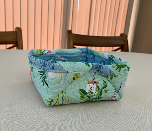 Quilted Fabric storage box featuring Bicycle and succulents fabric.