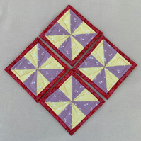 Set of Four Yellow and Purple Spring Flowers and Red Pinwheel Coasters