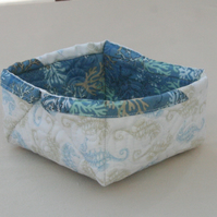 Quilted Fabric Storage Box featuring Seahorse and Coral print fabric
