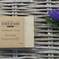 Orange & Grapefruit natural handmade soap bar. 80g
