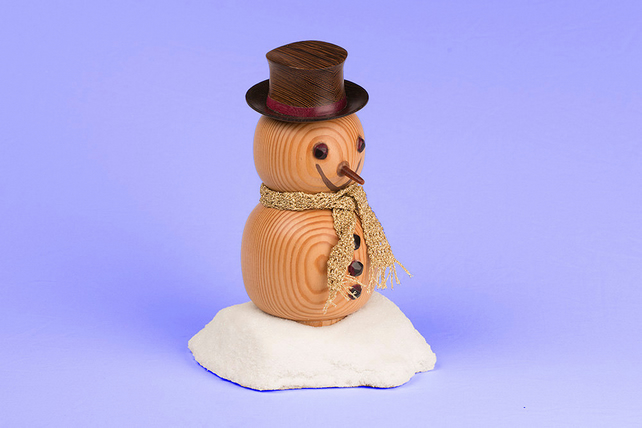 Handmade Christmas Wooden Snowman Ornament