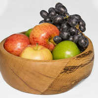 Handmade Spalted Beech Wood fruit bowl with copper inlay, Natural wood, Hand Tur