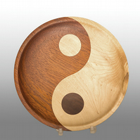 Yin & Yang 8 inch Plate made from Exotic Padauk and Maple wood