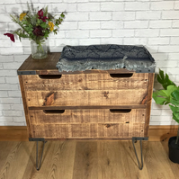 Industrial reclaimed 2 drawer side board, bedroom chest of drawers, rustic hallw