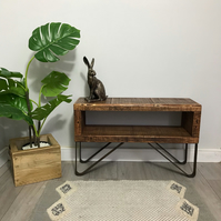 Reclaimed wood TV stand, slim line rustic industrial TV bench