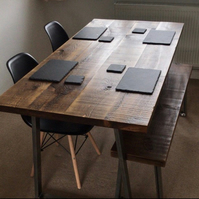 Rustic industrial table and bench package with trapezium legs, dining table