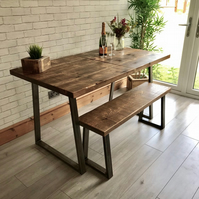 Extending Industrial Dining Table and Bench package with Trapezium legs