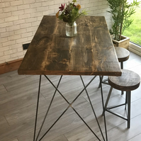Rustic reclaimed industrial style dining table with geometric legs, table and be