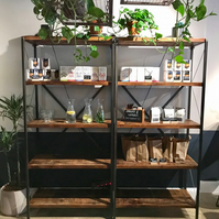 Industrial reclaimed bookcase shelving unit