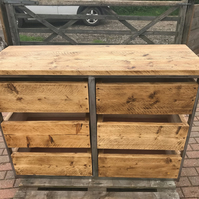 Industrial chic chest of drawers, industrial kitchen island drawer unit, rustic