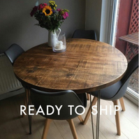 Round rustic industrial hairpin dining table