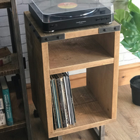 Vinyl storage unit rustic industrial style