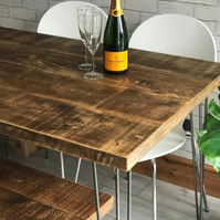 Table and bench package, rustic reclaimed industrial with hairpin legs, fast dis