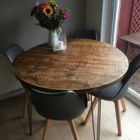 Round rustic industrial hairpin dining table, fast dispatch times