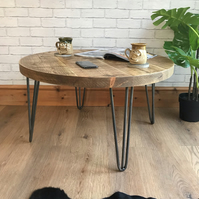 Round rustic industrial hairpin coffee table, fast dispatch times