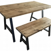 Table and bench package rustic reclaimed industrial dining table, fast dispatch
