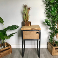 Reclaimed Industrial bedside table with steel frame