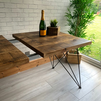 Extending industrial style Dining Table with geometric butterfly hairpin legs