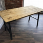Rustic industrial desk with H- frame trapezoid legs
