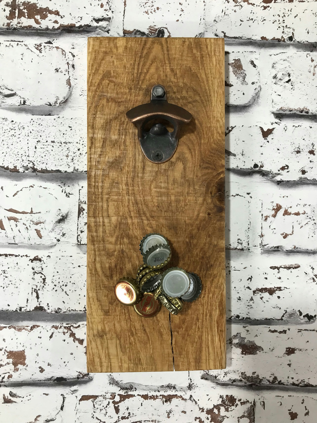 Rustic reclaimed magnetic wall mounted bottle opener