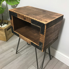 Retro rustic industrial bedside table