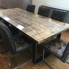 Industrial dining table with glass top, 8 seater dining table, rustic industrial