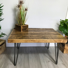 Reclaimed rustic industrial coffee table with hairpin legs