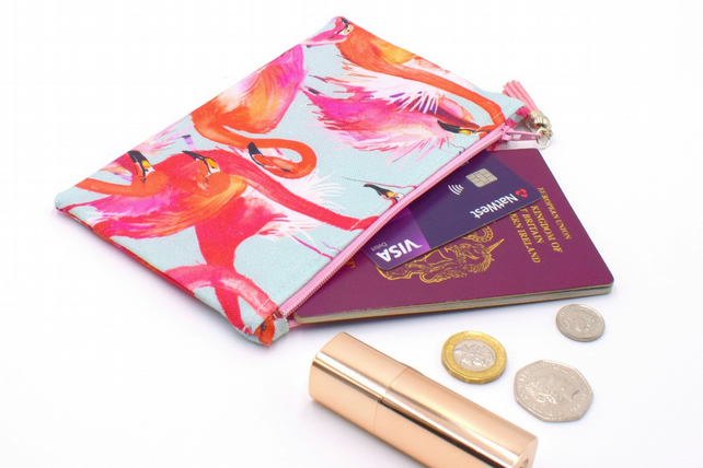 Bright Pink Flamingo Small Zip Purse Coin Purse Passport Holder
