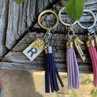 Flower bee keyring - 'Aimee' wooden initial tag with gold bee & suede tassel