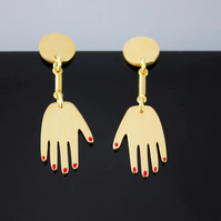 24ct Gold Plated Hand Earrings. Hand Painted Contemporary Dangle Earrings.