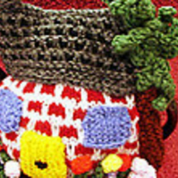 Tea Cosy Knitting Pattern, Cottage and Garden knitted tea cosy in 3 sizes