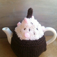 Hot Chocolate Tea Cosy Knitting Pattern in 3 sizes using double knit yarn