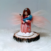 Needle Felted Merino Mother Fairy Figure with Baby and wand on wood plinth